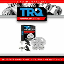 Trq Performance Drilled Slotted Rotor And Ceramic Brake Pad Front And Rear Kit
