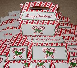 Lot Of 6 Or 12 Merry Christmas Red And White Candy Cane Treat Cookie Gift Box