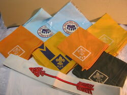 Vintage Boy Scout Neckerchief Lot And Order Of The Arrow Sash Bear Paw Camp T