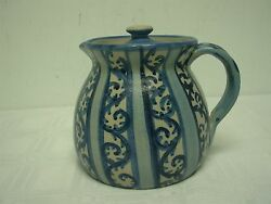 Signed Dorchester Pottery N Ricci Fecit Cah Fiddlehead Scroll Covered Pitcher