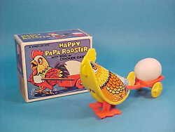 Happy Papa Rooster W/ Egg Cart Tin Litho Wind Up Toy Boxed Hong Kong 782