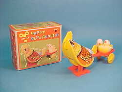 Happy Papa Rooster W/ Chicken Cart Tin Litho Wind Up Toy Boxed Hong Kong