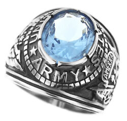 Light Sapphire Blue Stone Us Army Military Silver 316ss Crown Top Mens Ring