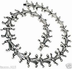 Vintage Style Rodriguez Taxco Mexican 950 Sterling Silver Flower Necklace Mexico