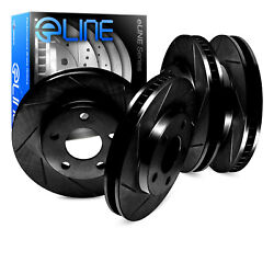 For 1991 Volvo 740 Front Rear eLine Black Slotted Brake Rotors