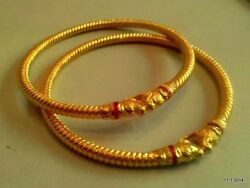 Vintage Copper And 22k Gold Covered Bracelet Bangle From Rajasthan 2pc