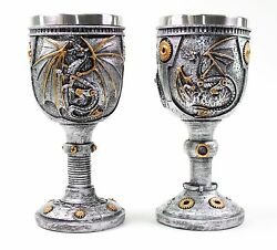 2 Set Of Silver Dragon Wine Goblet Skulls Steampunk Collectible Home Decor Gift