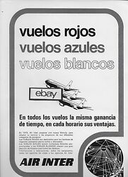 Air Inter France Mercure Rojo/azules/blancos Route Map Spanish 1975 Ad