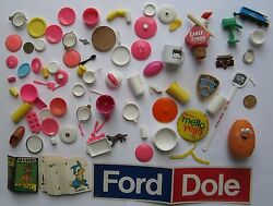 Junk Drawer Lot Barbie Toys Ford-dole Sticker Early Times Baseball Cork Etc
