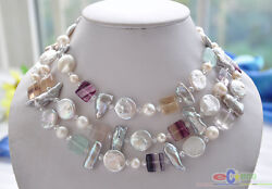 P4509 50 15mm White Coin Biwa Round Freshwater Pearl Square Fluorite Necklace