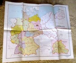 Large Vintage Map Occupied Germany Berlin American British Zone Polish Post Wwii