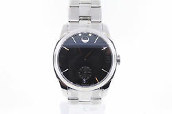 Menand039s Movado 0606626 Movado Lx Stainless Steel Black Dial Watch