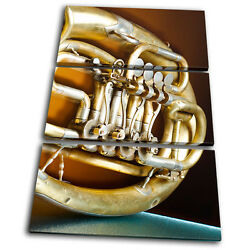 Canvas Art Picture Print Photo Vintage French Horn Musical Brass Instruments