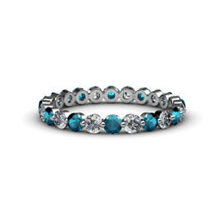 Floating Blue And White Diamond Eternity Ring Stackable 1.7ctw 14k Gold Jp47836