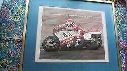 Framed Picture Mike Baldwin 1984 Formula 1 U.s. National Champion Motorcycle