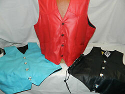 Custom Made Usa Leather Motorcycle Club Vest Men/women Red/blue Knights