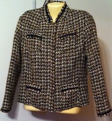 Chicoand039s Plaid Woven Jacket Size 1 Or Small 8-10 Vgc Silk Blend Brown Snap Front