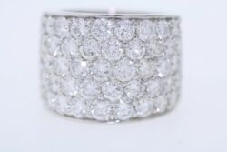 Custom Made 18k White Gold 6.29ct Round Diamond Cigar Band Ring F SI2 Size 6.5