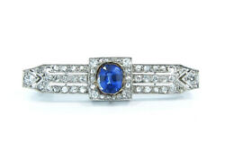 ART DECO PLATINUM BROOCH PIN WITH CEYLON SAPPHIRE AND DIAMONDS