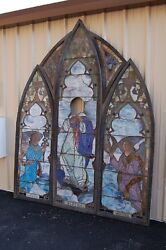 + 120 Year Old (Thick Drape Glass) Tiffany Style  Stained Glass Windows + Angels