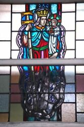 + Nice Figural Stained Glass Window 15and039 Tall X 4and039-6w 12 Of 12 + Chalice Co.