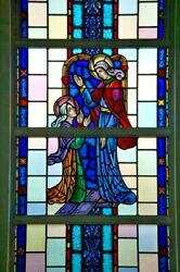 + Nice Figural Stained Glass Window 15and039 Tall X 4and039-6w. 5 Of 12 + Chalice Co.