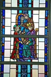+ Nice Figural Stained Glass Window 15and039 Tall X 4and039-6w. 2 Of 12 + Chalice Co.