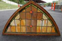 Nice Old Transom Stained Glass Window + 36 1/4and039and039 Ht. X 66 3/4and039and039 Wide +chalice Co