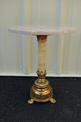 + Old Traditional Marble And Brass Flower Stand + Chalice And Vestment Co. +