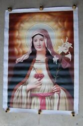 + Hand Painted Image Of The Immaculate Heart Of Mary On Canvas + Chalice 15
