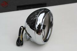 Motorcycle Ribbed 7 Round Head Light Lamp Bulb Bucket Housing Heritage Fat Boy