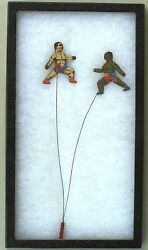 Johnson Vs Jeffries Antique Toy Circa 1910 Cardboard Boxing Figures On Wire