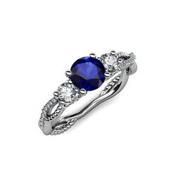 Blue Sapphire And Diamond 3 Stone Engagement Ring 1.55 Ct Tw In 14k Gold Jp88662