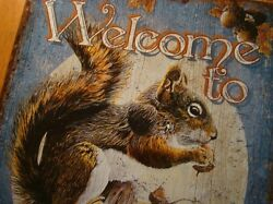 Welcome To The Nut House Squirrel On Rustic Blue Wood Grain Sign Wall Home Decor