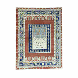 9and039x12and039 Pictorial Tree Design Pure Wool Hand Knotted Peshawar Rug R30362