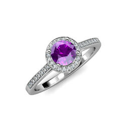 1 1/5 Ctw Round Amethyst And Diamond Womens Halo Engagement Ring 14k Gold Jp86949
