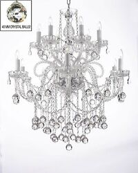 Made With Crystal Chandelier With Crystal Balls H38 X W32