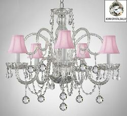 Made W/ Crystal Chandelier Chandelier With Pink Shades And Crystal Ball