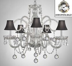 Made With Crystal Chandelier All Authentic W/black Shades+crystal Ball