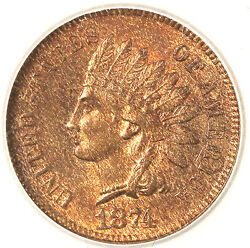 1874 1c Indian Head Cents-red And Nice Indian Head Penny