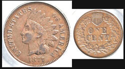 1877 1c - Indian Head Cent - Andnbspkey Date-very Pretty And Rare Color