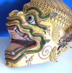 Antique Side Face Mask Dragon Thai Khon Hanuman Ramakien Oriental wall decor