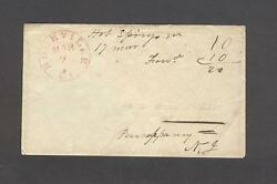 Rockville Ct. Red Cds And M/s Hot Springs Va. 17 Mar. On 1850s Envelope To Nj