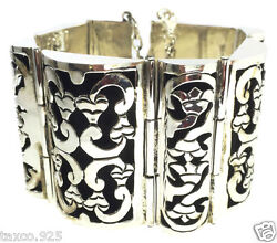 Taxco Mexican 925 Sterling Silver Floral Shadow Box Bracelet Mexico