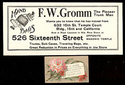 1880's Denver Co Trade Card And Matching Ink Blotter, Gromm Trunks And Valises Tc345