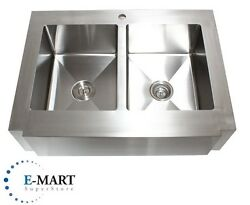 36 Inch Stainless Steel Flat Front Farm Apron Double 50/50 Bowl Kitchen Sink