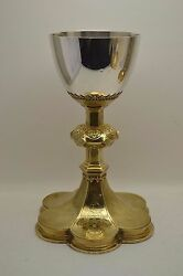 + Antique Gothic Chalice + Hand Made C.1934 + Cup Sterling + Made In France +