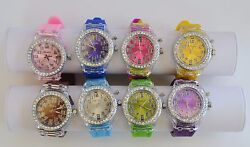 New-geneva Silicone Crystals,silver Blinking Multi Color,large Dial Watch