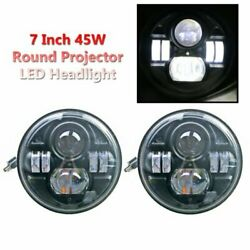 2 x 7 45W Round High Low Beam CREE LED Projector Headlight For Jeep Wrangler
