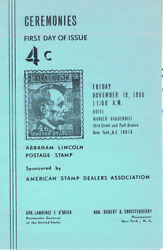 1282-c2 First Day Ceremony Program 4c Abraham Lincoln Stamp W/fdc